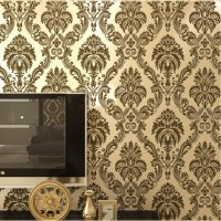 European damask wallpaper Pvc Flocking floral wall paper ...