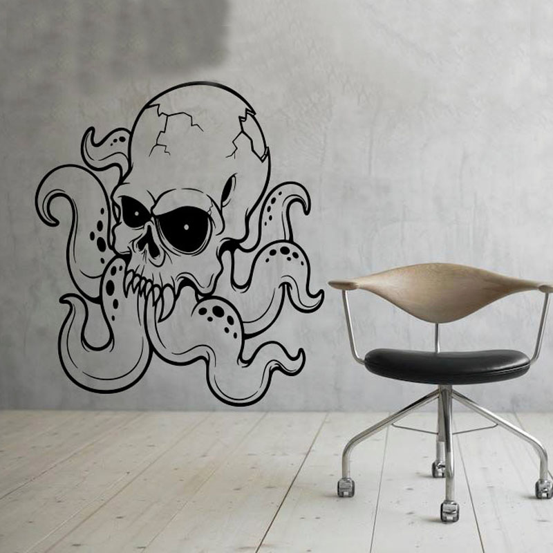 skull octopus wall stickers vinyl decal decoration home removable skull flowers vinyl wall decal vinyl vinylwallaccents