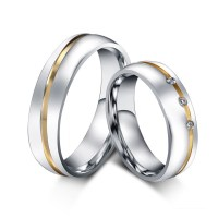 1 pair gold plated custom alliance stainless steel wedding ...