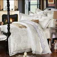 White Jacquard Silk/Cotton Bedclothe Bedding Set Luxury ...
