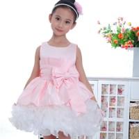 Elegant pink sleeveless kids clothes formal baby girls ...