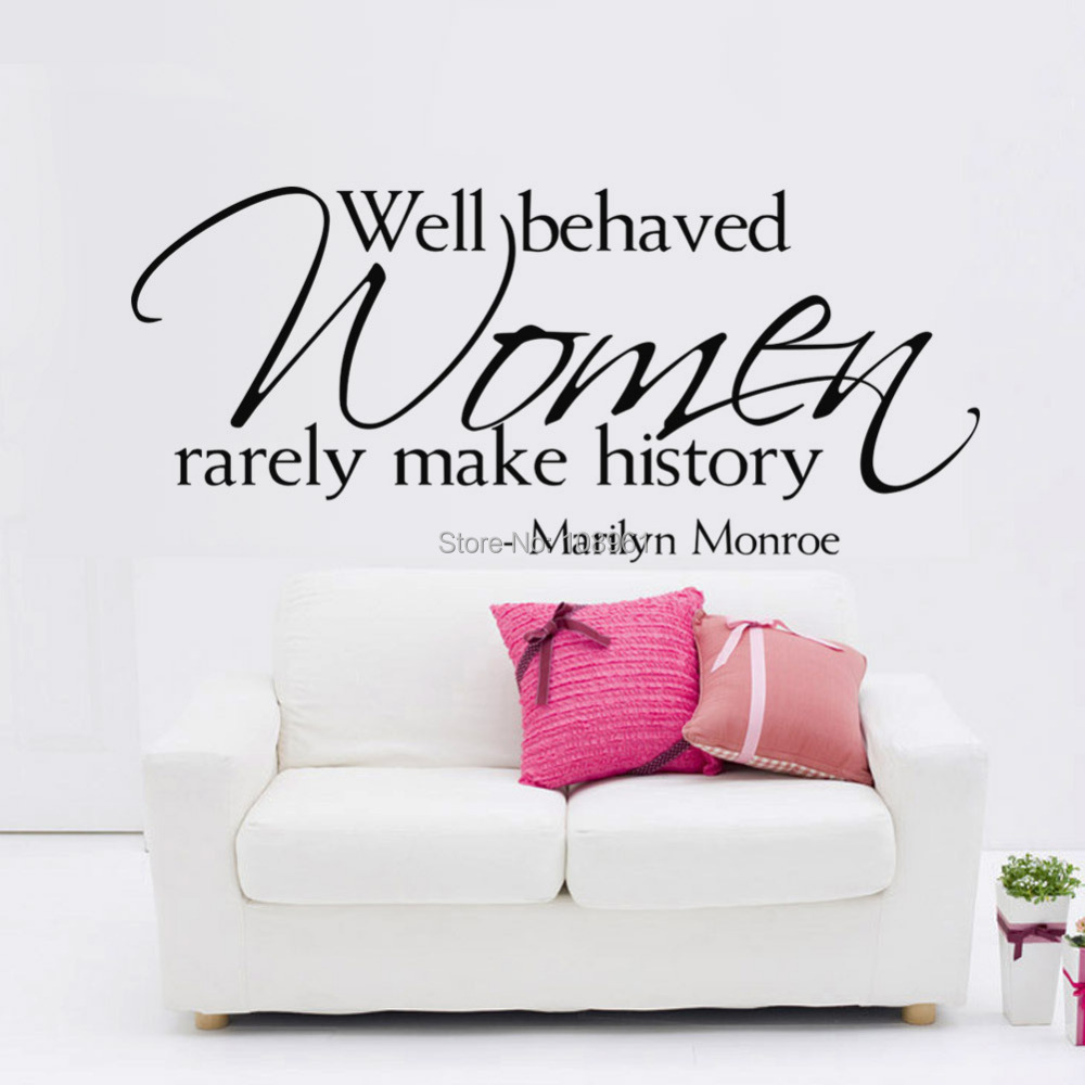 marilyn monroe wall sticker decal quote rarely history vinyl wall marilyn monroe wall sticker bright blue pig
