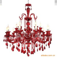 Red crystal chandelier sitting room lamp chandelier red ...