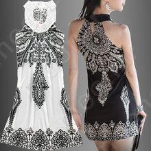 Vestidos de hippie Aliexpress branco com preto e preto com branco