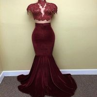 Online Get Cheap Black and Burgundy Prom Dress Lace ...