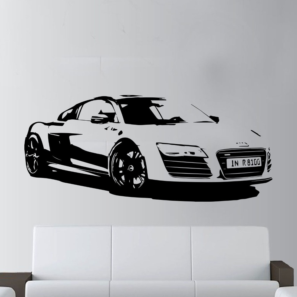 Audi Bettwäsche Us 6 32 20 Off 57x130cm Fashion Large Car Audi R8 Coupe Sports Wall Art Decal Home Decor Racing Car Wall Paper Art Vinyl Art Mural Kw 331 In Wall