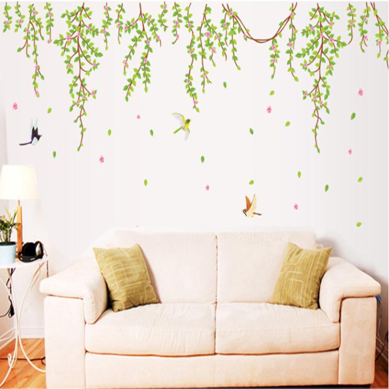 big green leaves pink flowers birds decal vinyl wall stickers pvc big bessy wall sticker