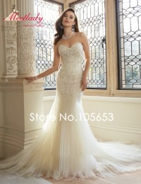 Fashionable Mermaid Wedding Dress Long Lace Wedding Gown ...