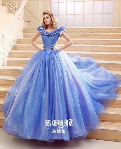 2015 Movie Cinderella Dress Cinderella Wedding Dress Blue ...