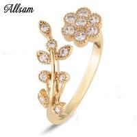 Adjustable Rings For Women 14k Gold Plated Flower Ring ...