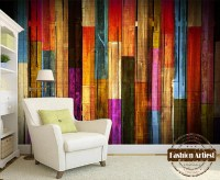 Custom modern 3d wallpaper mural vintage color wooden ...