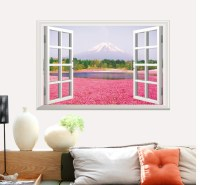 Pink Flowers And False Window Scenery Wall Paint