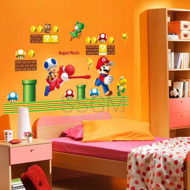 removable wall sticker decal home decors giant big super mario bros super mario bros wii wall stickers stickers wall