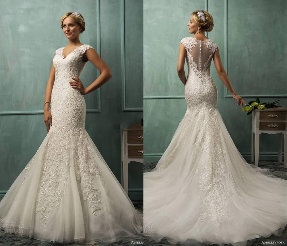 a line lace wedding dresses fitted lace wedding dress A line lace wedding dresses photo 4