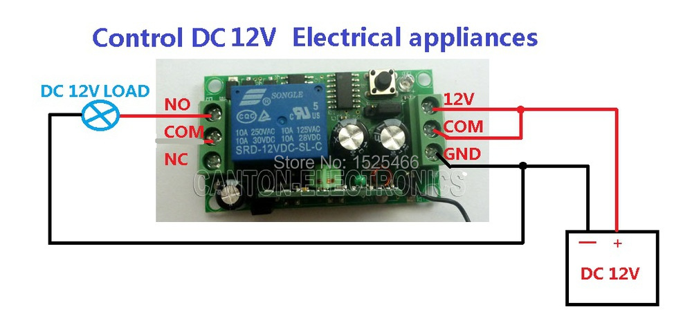 2019 DC 12V 433Mhz Large Power Transmitter  Relay Receiver RF ASK