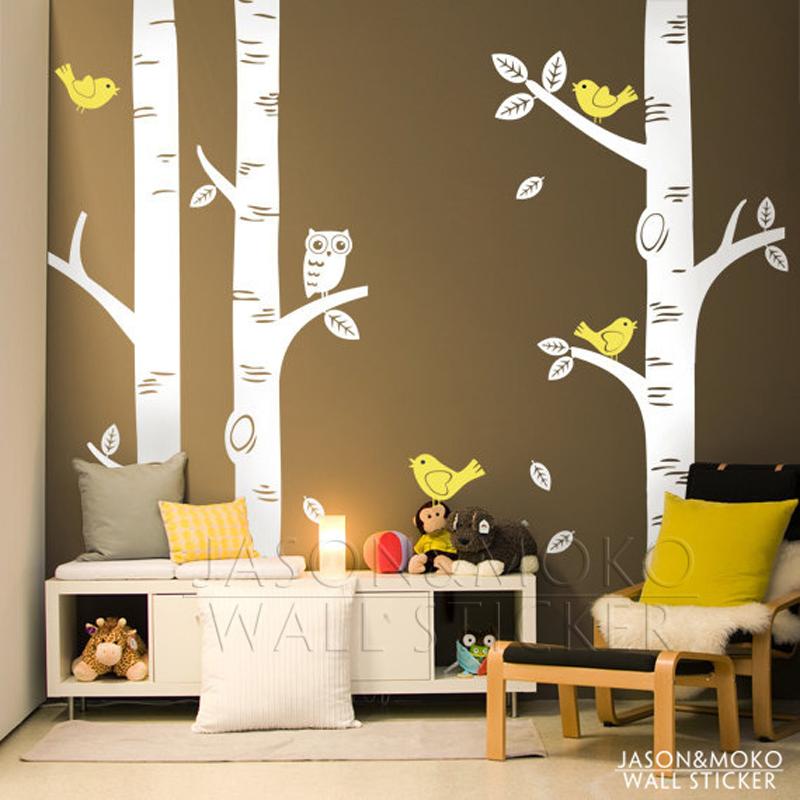 buy large owl birds birch tree wall decal sticker baby room baby nursery kid room wall decals baby nursery kid room wall