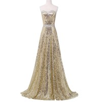 Real Photo Grace Karin Luxury Sequin Gold Evening Dresses