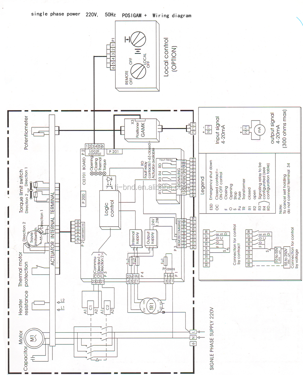 electric actuator valve schema cablage