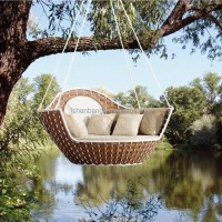 Oudoor Wicker Round Hanging Basket Swing Chair And Bed