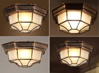 Industrial 1-Light Octagon Iron and Glass Flush Mount ...