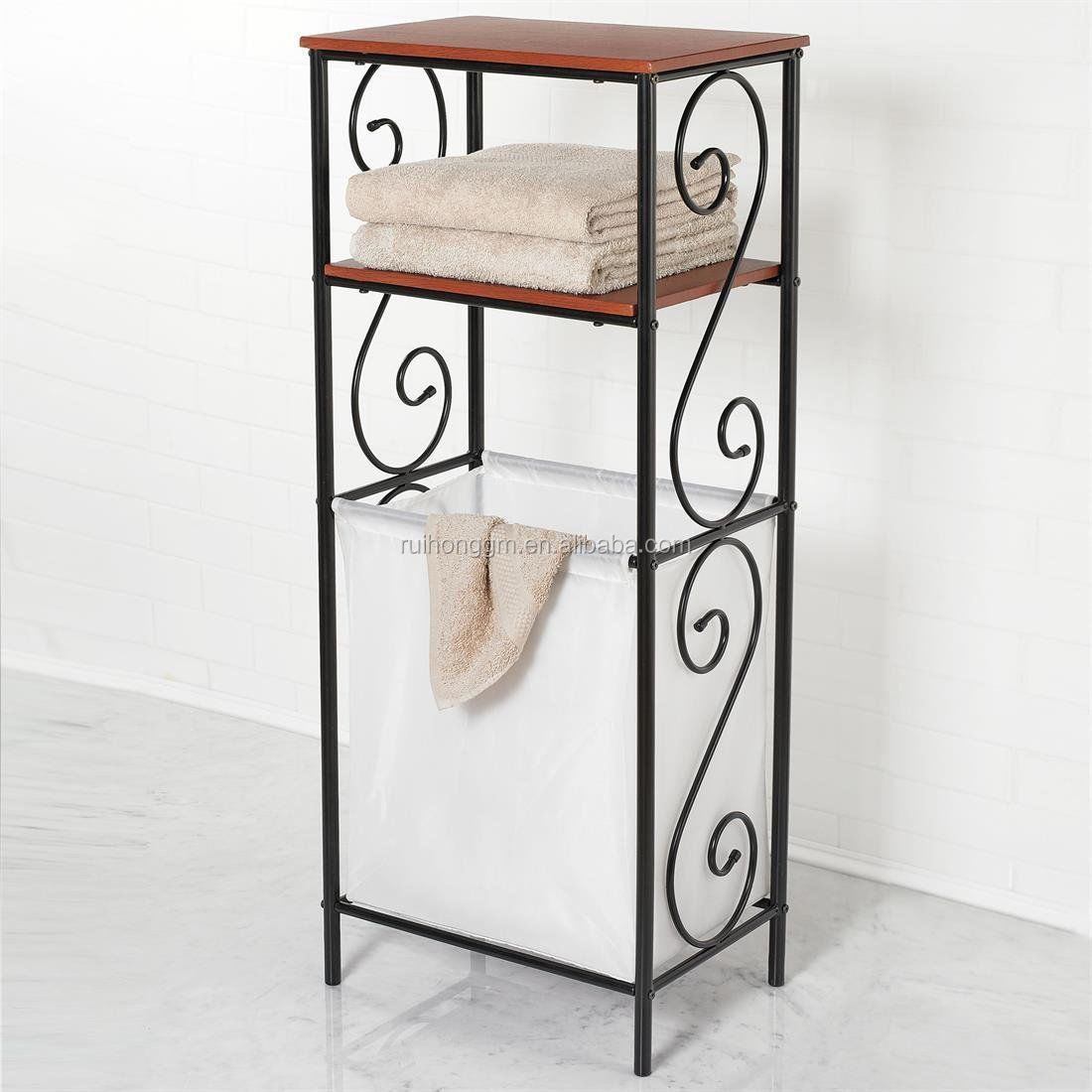 Laundry Basket With Shelves 3 Tiers Metal Bathroom Scroll Storage Organizer Laundry