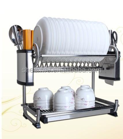 Stainless Steel Kitchen Dish Racks 2 Tier Dish Drying