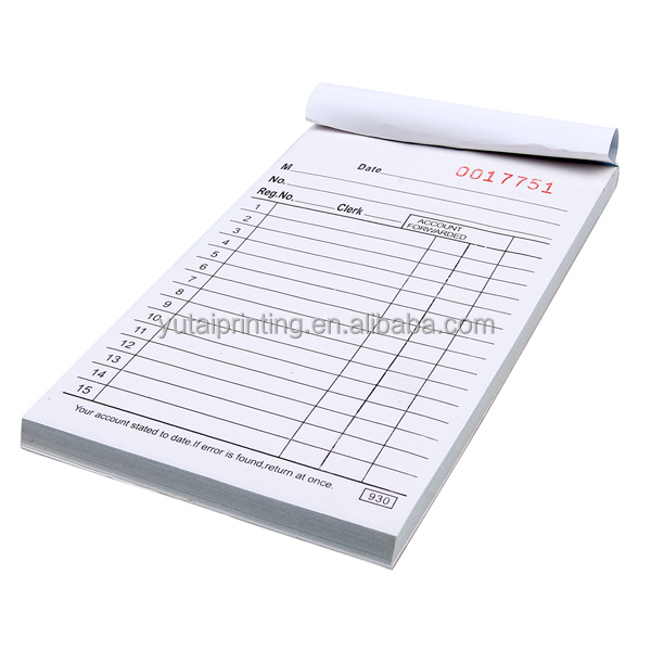 New product book, duplicate salesbook restaurant order docket
