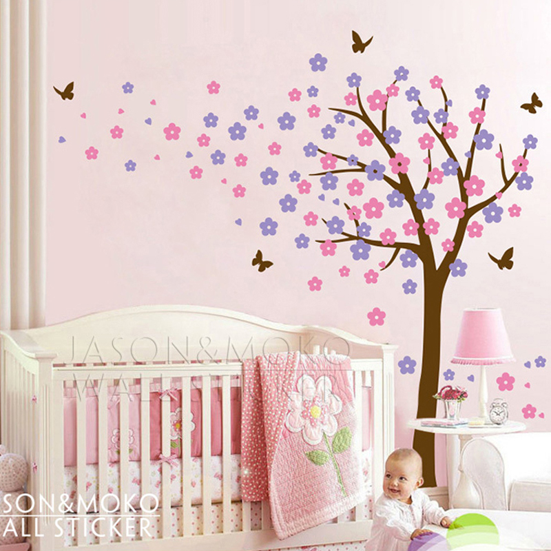 large tree butterfly flowers blossom spring vinyl wall stickers decal custom designed large windy tree wall decal wall decals features