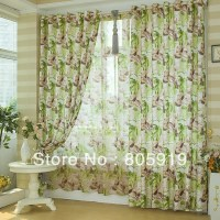 Free Shipping Green Floral Curtains For Living Room On