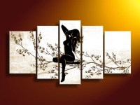 5 Panel Wall Art People Black White And Red Decor Dream ...