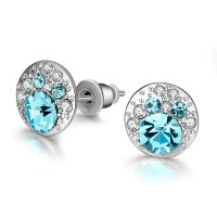Blue Crystal Earrings For Women White Gold Studs Fashion ...