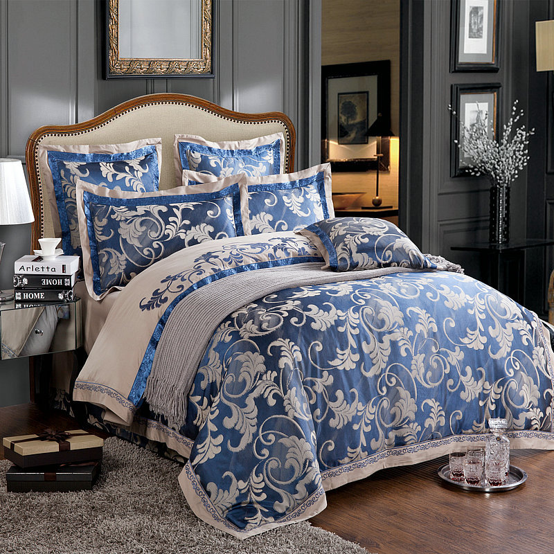 Tan Duvet Cover King 6pc Luxury Chinese Silk Duvet Cover Set Dark Blue And Grey