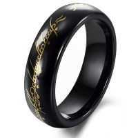 Tungsten Black & Gold Lord of Ring Mens Ring Size 6 10-in ...