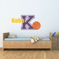 Basketball Vinyl Decal with Custom Name & Initial Sports