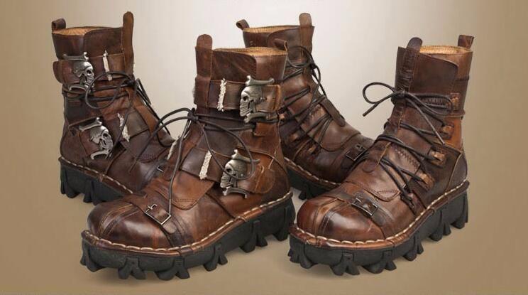 Fashion Cowhide Genuine Leather Military Uniform Boots