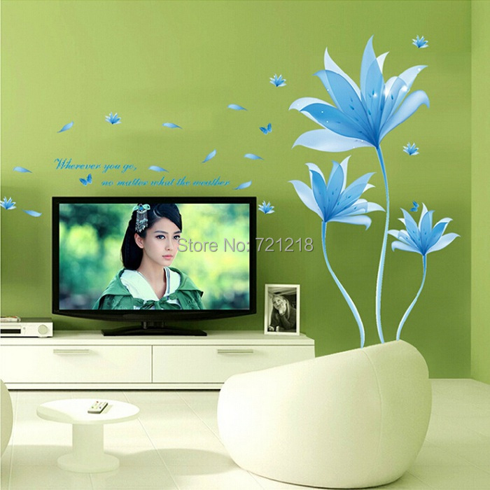 large flower wall stickers vinyl wall decals living room home pics photos lively flowers large wall decals stickers appliques home