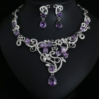 Party purple Crystal Jewelry Bridal Jewellery Wedding ...