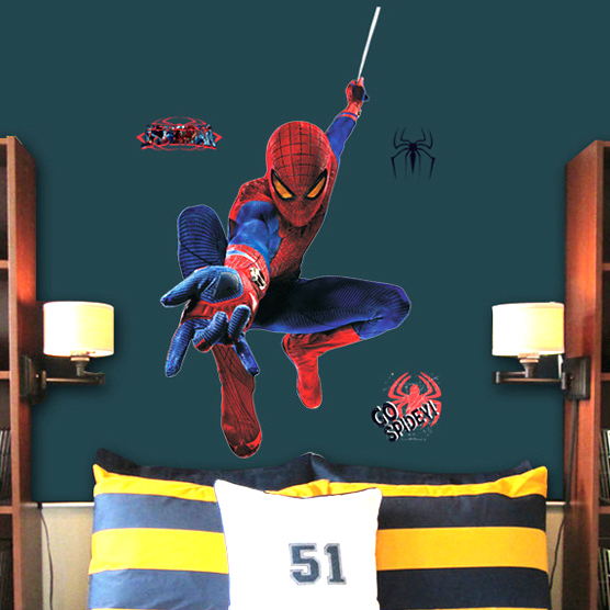 large spiderman wall sticker kids removable wall decal cartoon price home spiderman large wall stickers