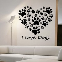 I Love Dogs Paw Print Wall Stickers Heart Removable DIY ...