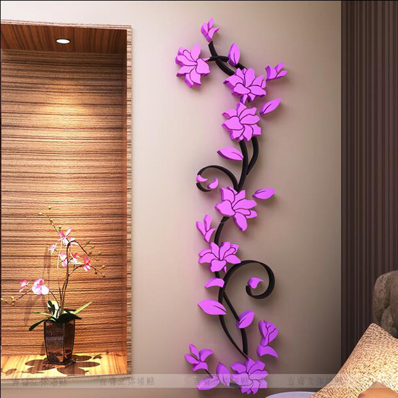 fashion pvc flower mirror home art diy wall sticker living room decal wall sticker decor beautiful wall sticker decoration