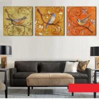 3 Panel Printed Modern Birds Painting Canvas Wall Art ...