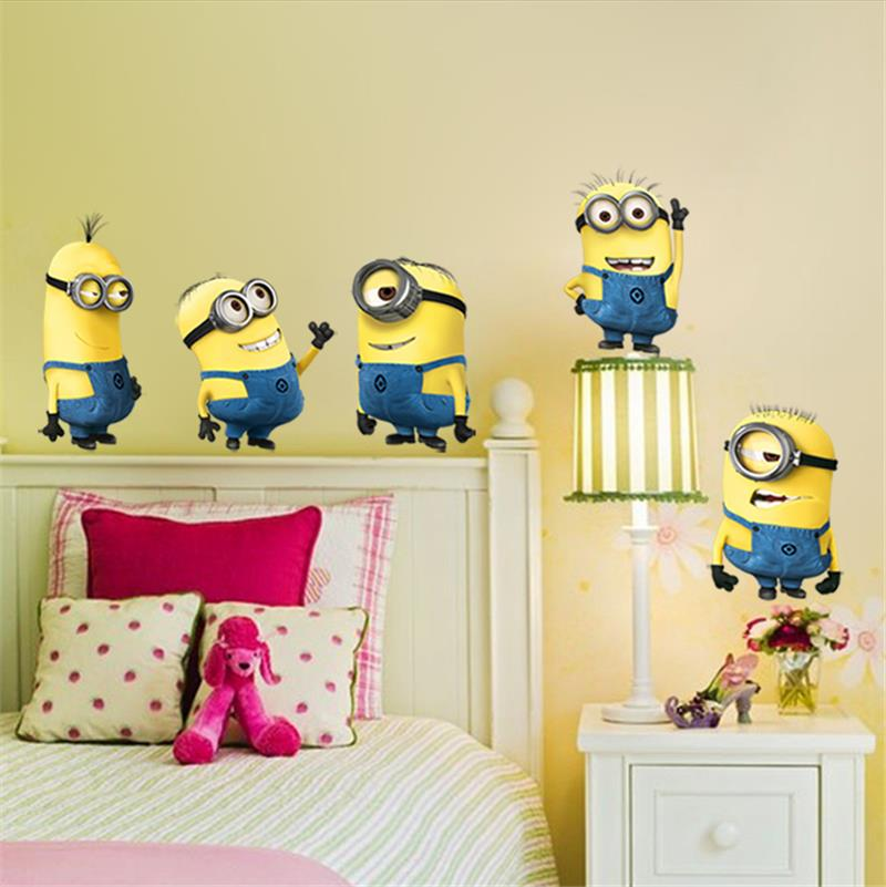 minions movie wall stickers kids room home decorations diy movie wall decals wall decal flying bike ambiance sticker