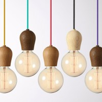 Modern Oak Wood Pendant Lights Vintage Cord Pendant Lamp ...
