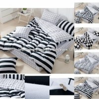 New luxury brand Black and White Bedding Plaid and stripes ...