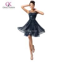 Summer Cheap Navy Blue Short Prom Dresses 2016 Sequins ...