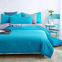 Home textiles,blue+grey solid color bedding sets bedspread ...