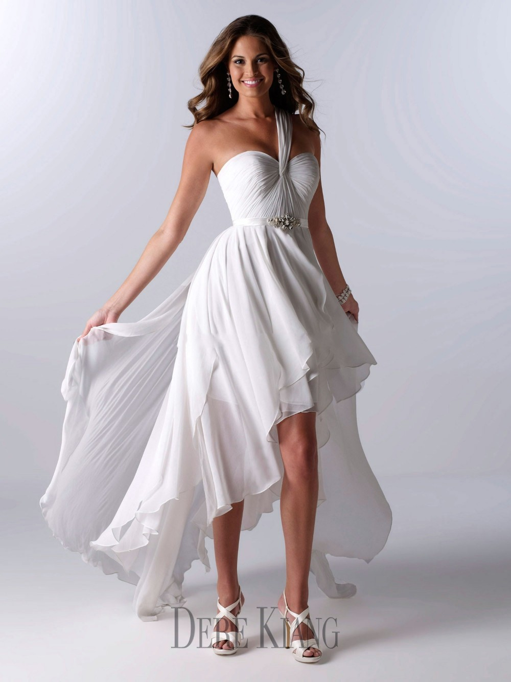 white wedding dress with pink accents short white wedding dresses Casual White Wedding Dress Dresses