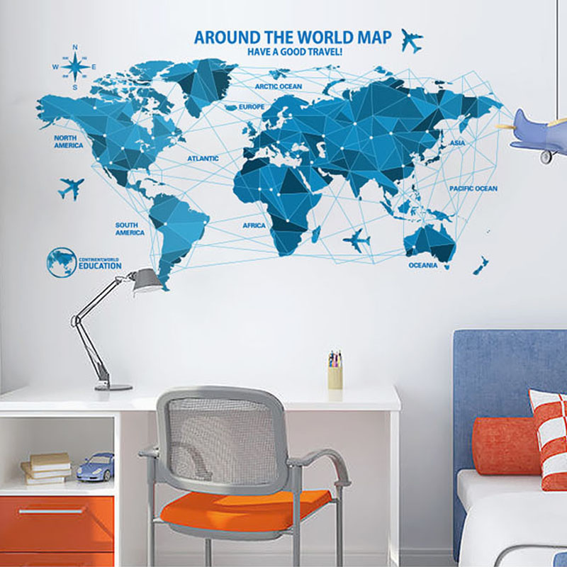 world map wall stickers home decor office wall decorative stickers original labelled world map wall stickers