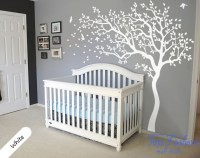 Huge White Tree Wall Decal Nursery Tree and Birds Wall Art ...