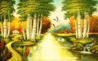 Nature river since the design of modern household wall ...